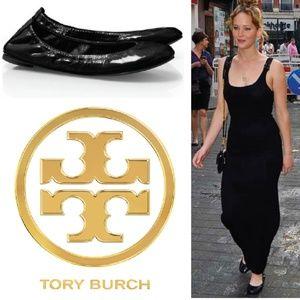 Tory Burch patent leather black 'Eddie' flats 8.5